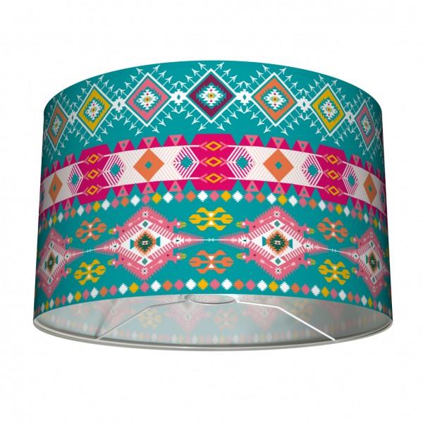 """Tisch- und Stehleuchten Lampenschirm """"Indianer"""" Mehrfarbig Türkis 30 cm"""