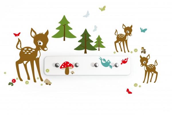 """anna wand Garderobe Wandtattoo """"Waldtiere"""" - Wandgarderobe Kinderzimmer Mädchen & Junge - Baum/Vogel/Reh"""