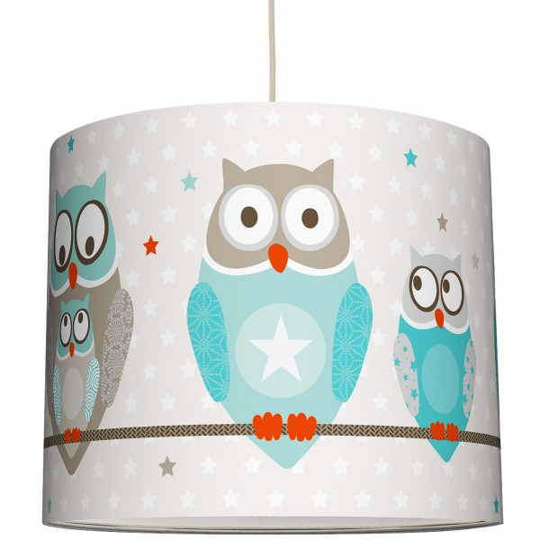 "Lampenschirm Kinder ""Owl Stars"" Boys Türkis/Taupe"