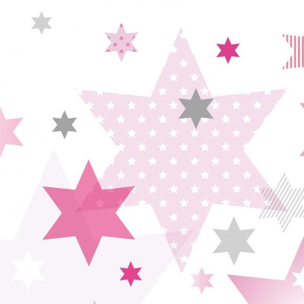 """anna wand Bordüre/Borte Kinderzimmer Sterne, Punkte """"Stars 4 Girls"""" Stern - Junge & Mädchen - Rosa/Grau"""