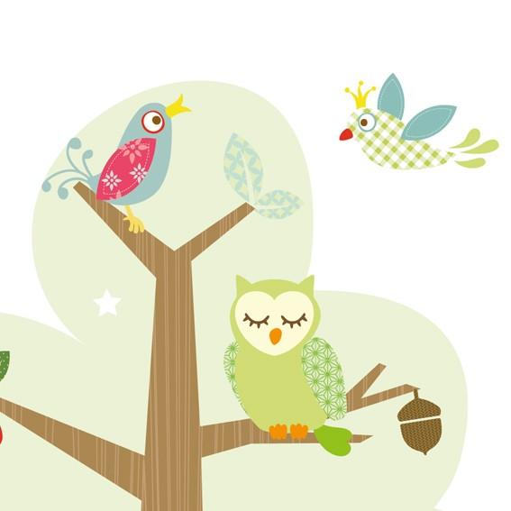"""anna wand Tapete, Fototapete Kinderzimmer """"Waldtiere"""" - Junge & Mädchen - Blau/Grün"""