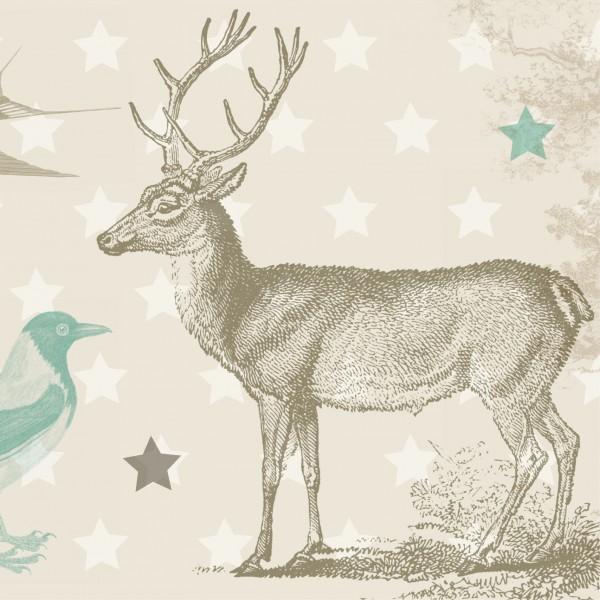 """nna wand Bordüre/Borte Kinderzimmer Tiere Waldtiere """"Wald"""" Hase, Reh, Hirsch - Junge & Mädchen – Beige/Braun"""