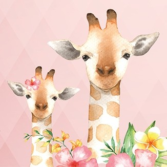 "anna wand Bordüre, Kinderzimmer ""Dschungeltiere"" Giraffe, Affe, Kolibri - Junge & Mädchen - Rosa/Grün/Gelb"