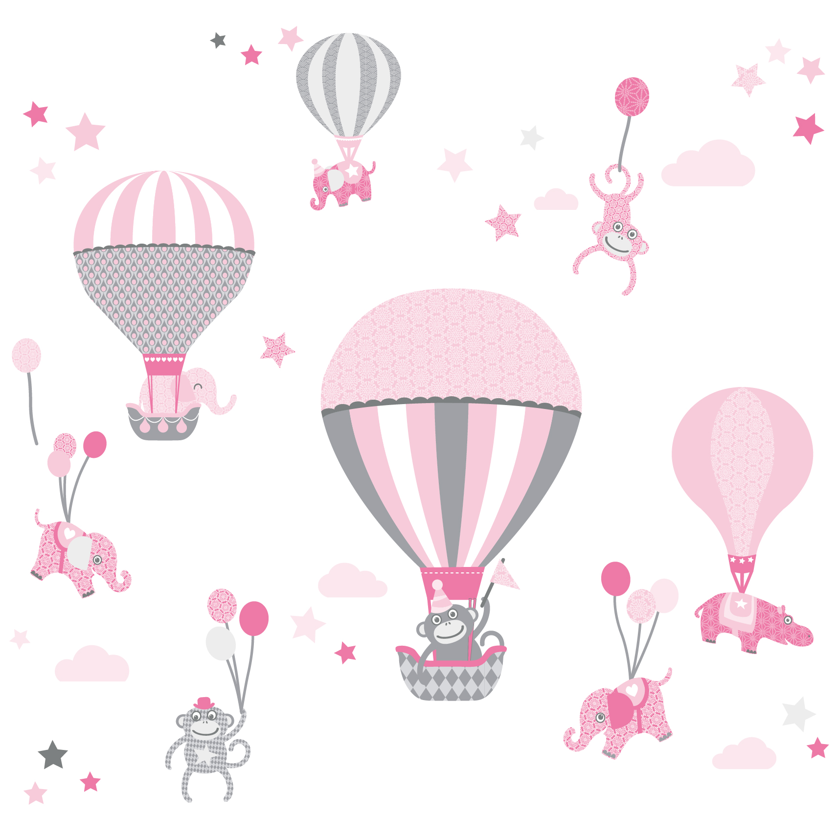 "Wandtattoo ""Hot Air Balloons"" Rosa/Grau"