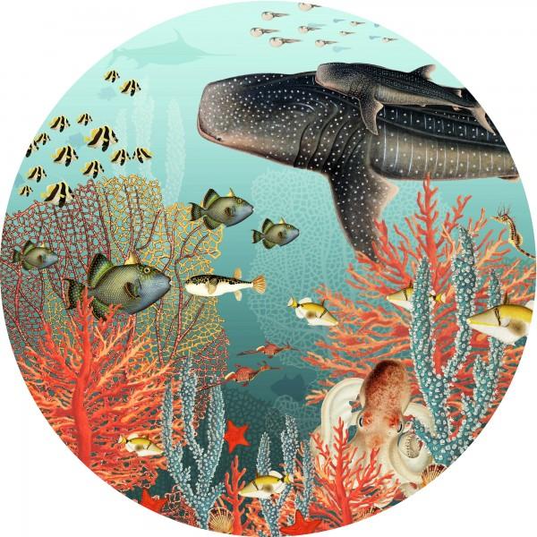 """Runder XL Stoffwandsticker """"Dot with a view"""" mit Unterwasserwelt Motiv, blau / mehrfarbig"""