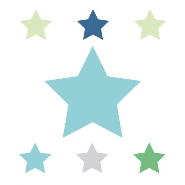 "anna wand Bordüre/Borte Kinderzimmer Sterne, Punkte ""Stars 4 Boys"" Stern - Junge & Mädchen - Blau/Grün/Grau"