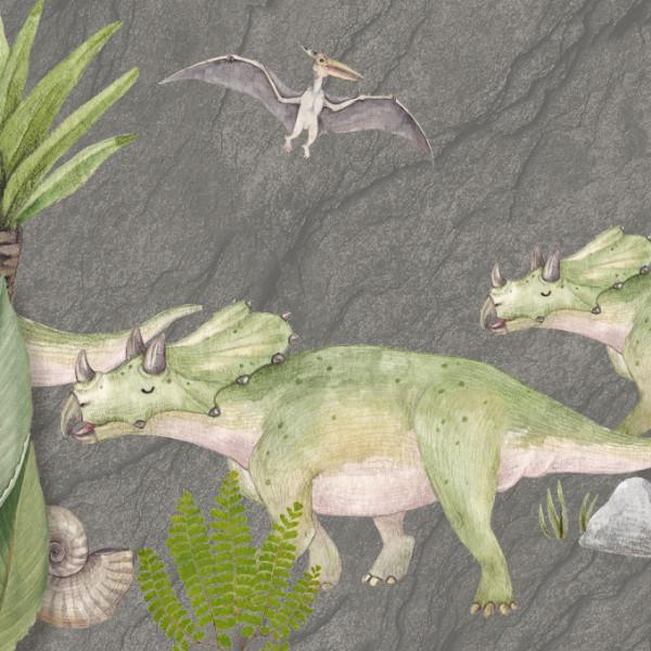 anna wand Bordüre Wandbordüre Borte Dinosaurier Dino Dinos Kinderzimmer Junge Mädchen grün/grau