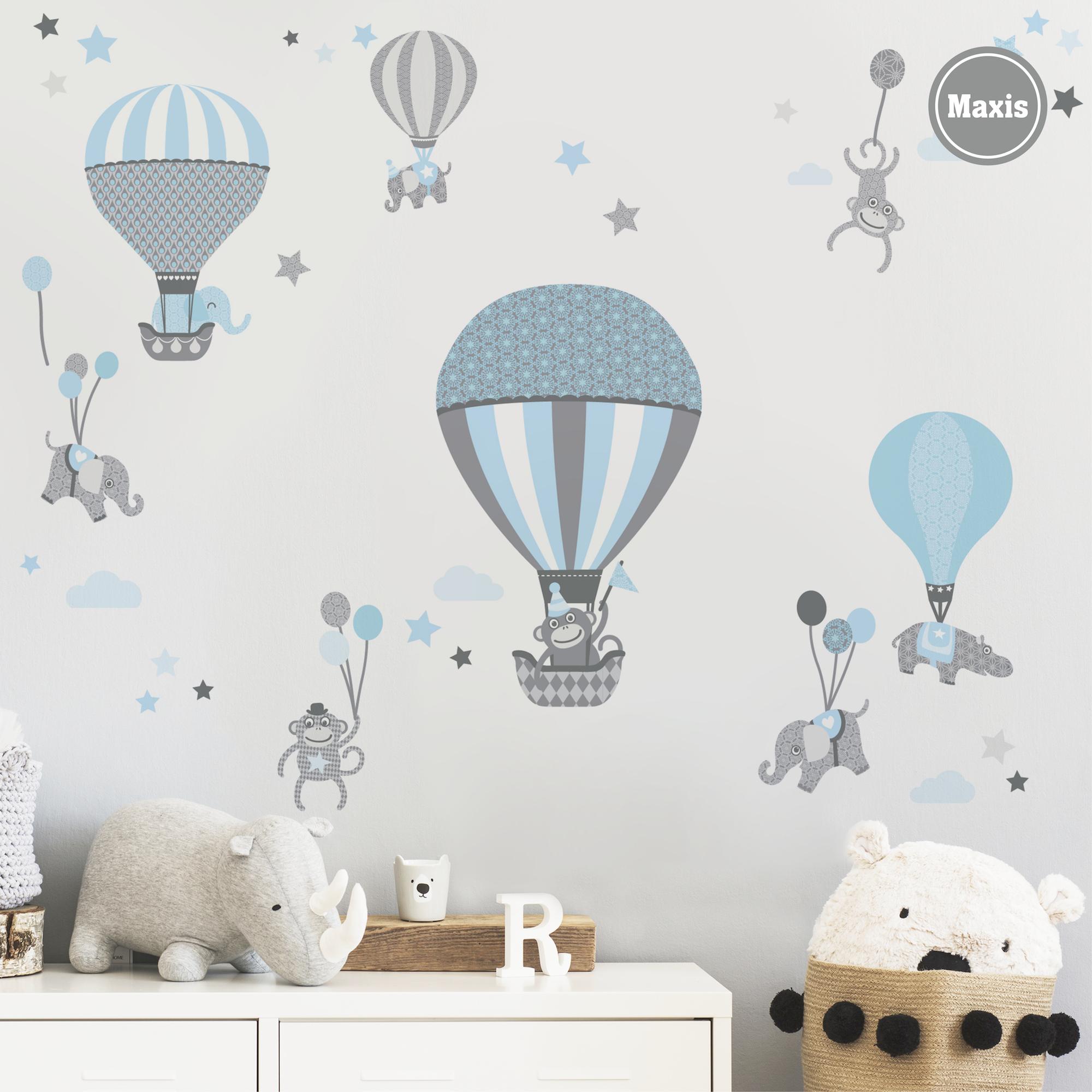 Wandtattoo Hot Air Balloons Hellblau Grau Wandtattoos Fur Jungen Wandtattoos Wandgestaltung Kinderzimmer Anna Wand Design