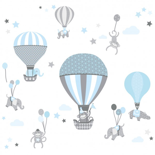 "anna wand Wandtattoo Kinderzimmer ""Heißluftballon"" selbstklebend - Junge & Mädchen - Blau/Grau"