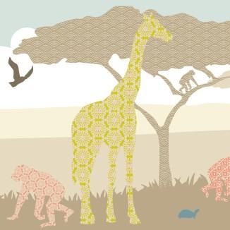"""anna wand Bordüre, Kinderzimmer """"Dschungeltiere"""" Giraffe/Affe/Schildkröte- Junge & Mädchen -Braun/Beige"""