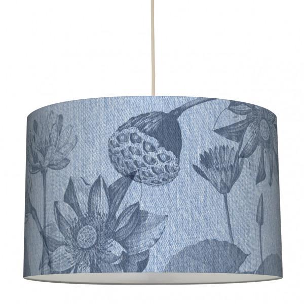 "Stoff-Lampenschirm ""Jeans & Flowers"" Blau 30 x 20 cm"