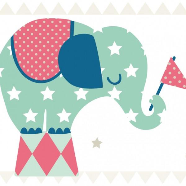 "anna wand Bordüre, Kinderzimmer ""Elefant"" - Junge & Mädchen - Grün/Blau/Rot"