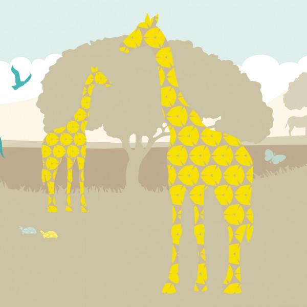 """anna wand Bordüre, Kinderzimmer """"Safari Afrika"""" Tiere - Junge & Mädchen -Gelb/Beige"""