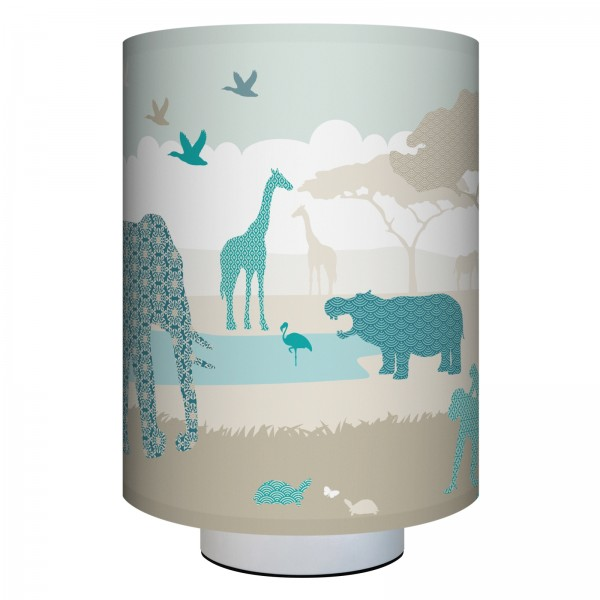 "anna wand Wandlampe, Wandleuchte Kinderzimmer ""Dschungeltiere"" Safari - Junge & Mädchen - Blau/Grau/Beige"