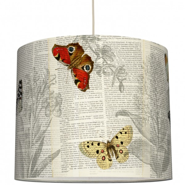 """anna wand Deckenlampe, Hängelampe """"Schmetterling Typo"""" - Beige/Rot"""