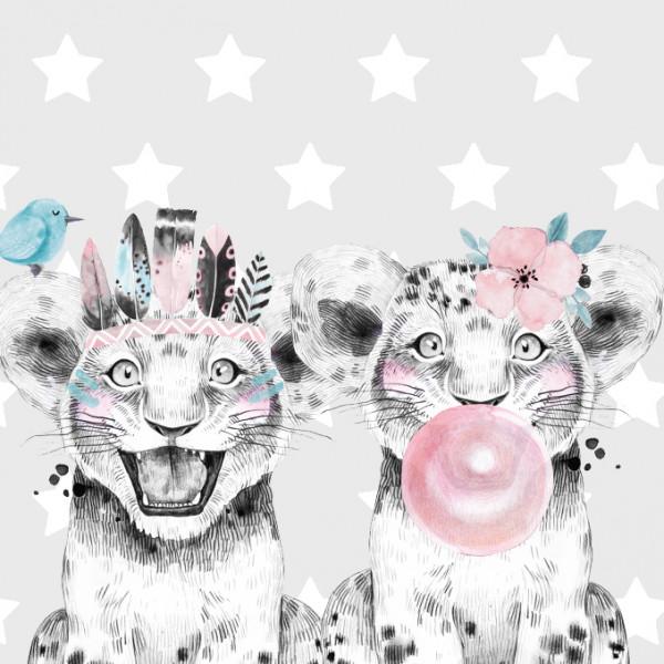anna wand Bordüre Wandbordüre Borte Wanddeko Kleine Wilde Leopard Kinderzimmer Junge Mädchen grau