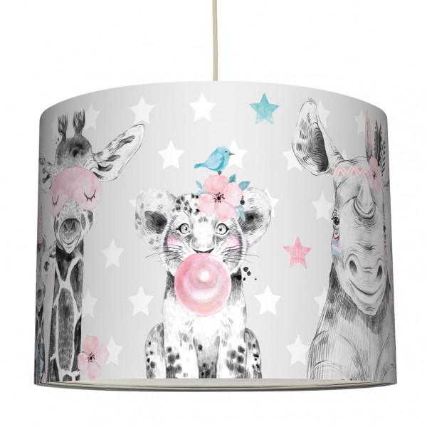anna wand haengelampe lampenschirm lampe leuchte kinderzimmer babyzimmer babygirl mädchen grau tiger elefant girafffe zebra