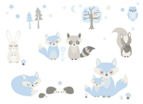 anna wand Wandtattoo, Kinderzimmer Waldtiere - Junge & Mädchen - blau/grau