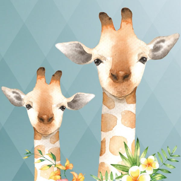 "anna wand Bordüre/Borte Kinderzimmer Tiere ""Jolly Jungle"" Giraffe, Affe, Vogel - Junge & Mädchen - Blau"
