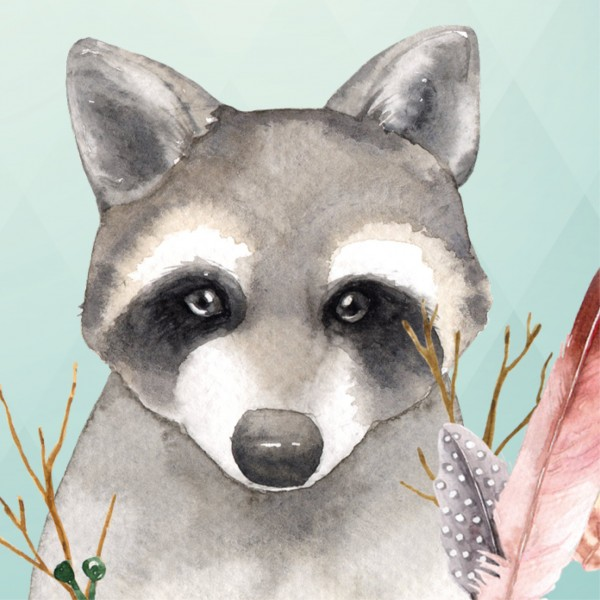 """anna wand Bordüre/Borte Kinderzimmer Tiere Waldtiere """"Friendly Forest"""" Fuchs, Waschbär, Vogel - Junge & Mädchen – Blau"""