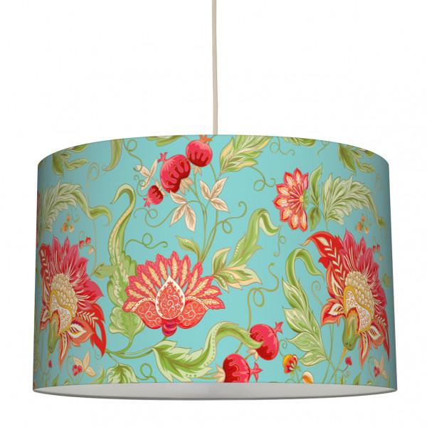 anna wand lampe hängelampe lampenschirm blumen türkis rot indian wohnzimmer küche flur
