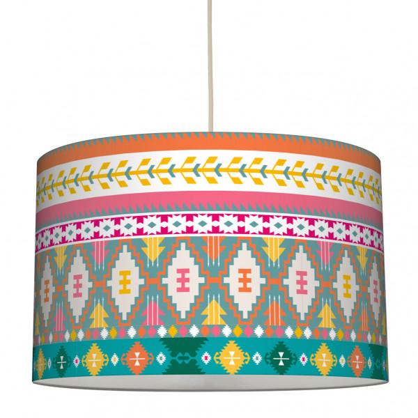 anna wand lampe hängelampe lampenschirm mädchen junge kinderzimmer boho ethno aztekenmuster pink türkis orange.