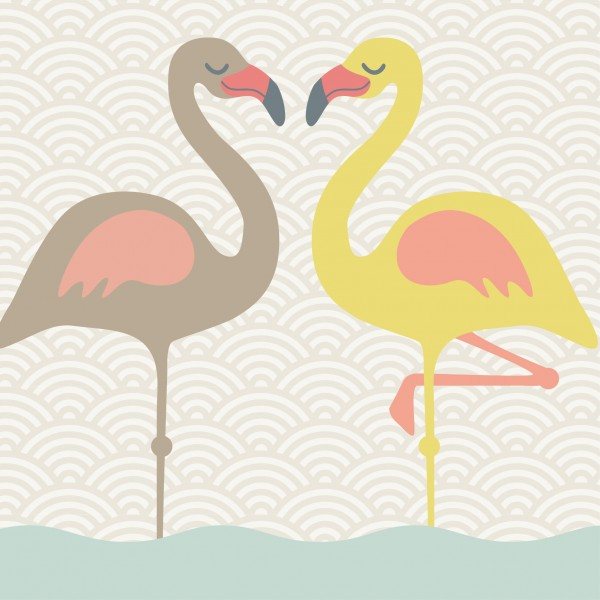 "Selbstklebende Bordüre ""Funny Flamingos"""