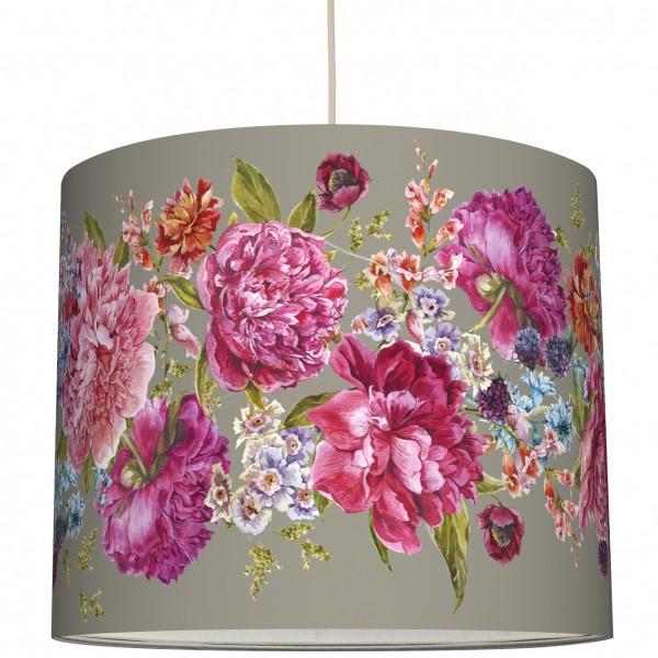 """Lampenschirm """"Blumen"""" Vintage/Taupe"""