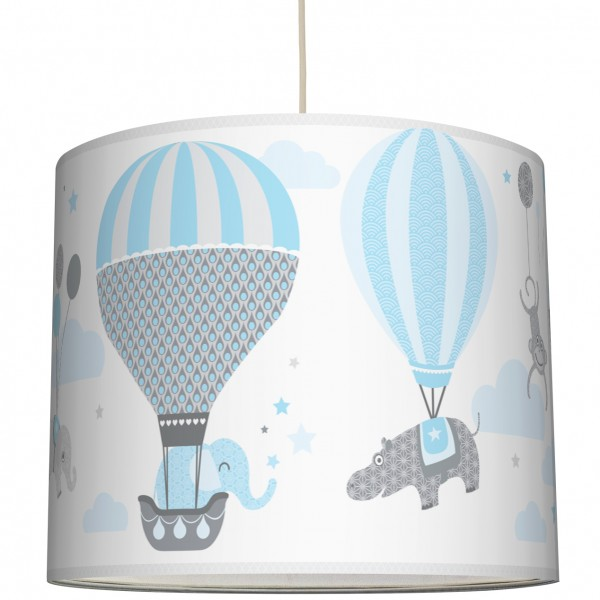 "Lampenschirm Kinder ""Hot Air Balloons"" Hellblau/Grau"