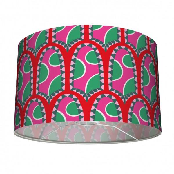 """Lampenschirm Tischleuchte Stehleuchten """"Afrikanisches Muster"""" Pink/Rot/Grün 30 cm"""